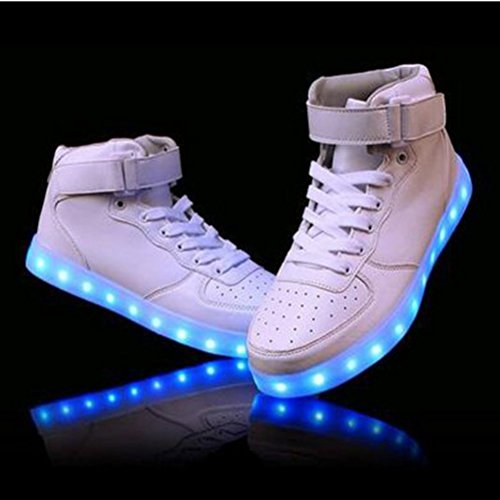 [Present:kleines Handtuch]JUNGLEST® 7 Farbe Lackleder High Top USB Aufladen LED Leuchtend Sport Schuhe Sportschuhe Sneaker Turnschuhe für Unisex-Erwachsene H High Top Weiß-1