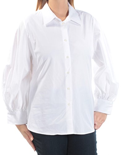 Lauren Ralph Lauren Womens Smocked Bishop Sleeves Button-Down Top White (White Smocked Bishop)