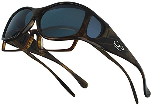 Eyewear Cocoons - Fitovers Eyewear Glides Sunglasses with Swarovski Elements on Temples (Brown, Amber)