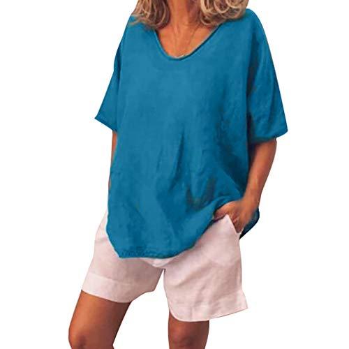 Women Linen Short Sleeve Tops, Solid Crew Neck Loose T-Shirt Casual Plus Szie Tees Tunic Blouse (XXXXX-Large, Blue)