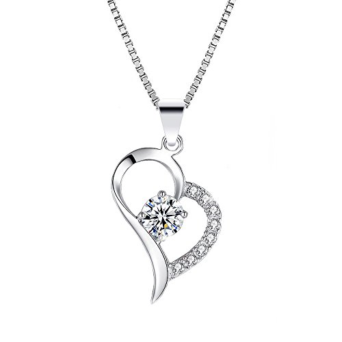 Rhodium Plated Sterling Silver Heart Cubic Zirconia Pendant Necklace with 45cm Italian Box Chain For - Gold Sunglasses Australian