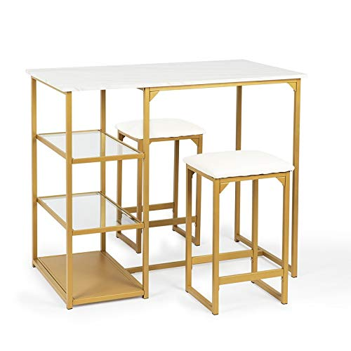 Urest Modern Counter Dining Table Set with 2 Bar Stools,Metal Frame,Shelf Storage,Brass Pub Set with Faux Marble Top,3 Piece Set