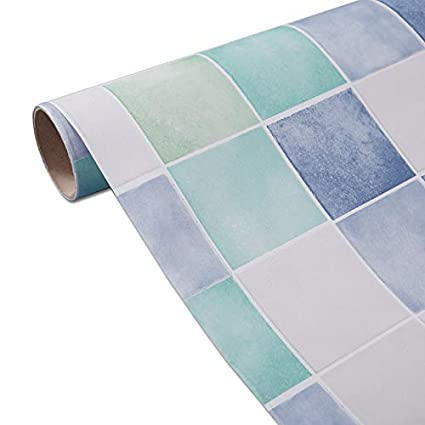 White Blue Contact Paper For Kitchen Backsplash Peel And Stick Tile