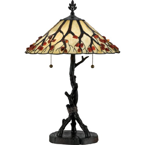 Quoizel AG711TVA 2-Light Agate Portable Table Lamp, Small, Valiant (Quoizel Wood Table Lamp)
