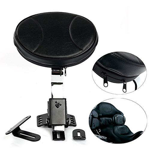 YaeKoo Solid Rivet Motorcycle PU Detachable Adjustable Plug-In Rider Driver Backrest Pad Compatible with Harley Touring