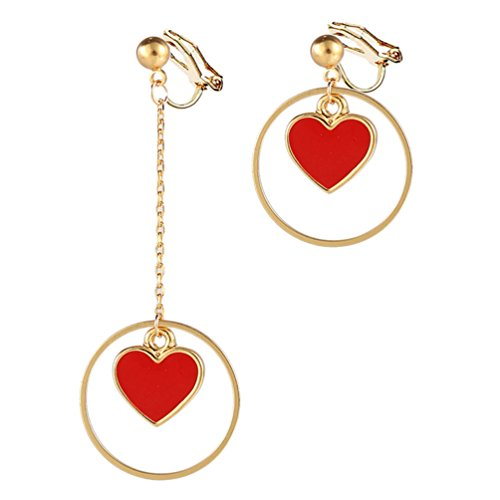 Clip on Earring Back with Pad Round Heart Dangle Clip Gold Color Fashion Jewelry for Girl Kid no Piercing ()
