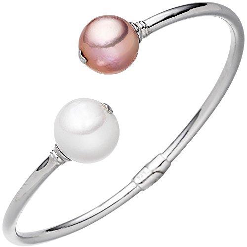 Bracelet Bracelet jonc ouvert bracelet avec perles d'eau douce blanc & rose argent 925