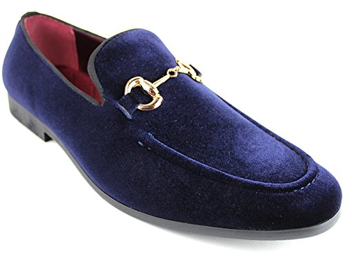Henry Ferrera Homme Nickerson Faux Cuir Oxfords Chaussures Slip-on Mocassins Royal Dark Navy
