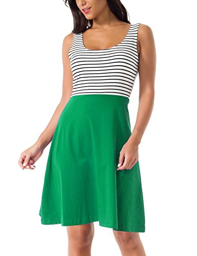 CUBEA Cotton Sleeveless Striped Flared