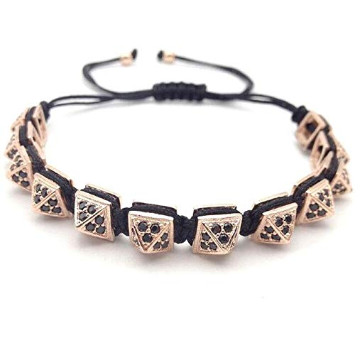 Men's New Micro Pave Black Pyramid Beads Braiding Charm Bracelets & Bangles (4 Colors 1 -