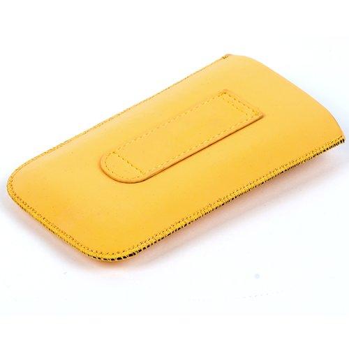 NFE² Etui offen - fungelb - mit Ausziehlasche und flacher Gürtelschlaufe für Apple iPhone 4 - 16GB und 32GB