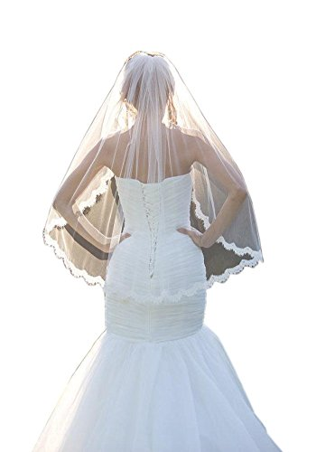 Mollybridal 2016 Lace One Layer Tulle Eblow Wedding Veils Fingertip Length With Comb White, Size (Lace Tulle)