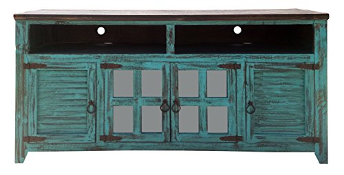 (Hiend 72 Inch Rustic Western Turquoise Antique Distressed Reclaimed Wood Look TV Stand Solid Wood Already Assembled (72 inch Turquoise))