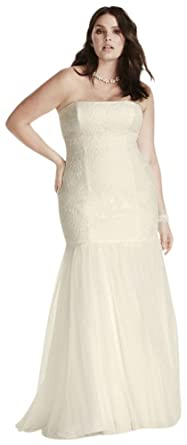 c9ad93c02638f Lace Plus Size Wedding Dress with Tulle Skirt Style 9KP3765, Ivory, 16W