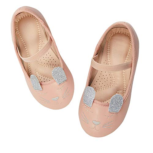 - ADAMUMU Mary Jane Shoes for Girls Princess Dress Shoes Ballerina Flat with Glitter Cute Cat for Daily wear Wedding Birthday Party,11M US Little Kid,Pink