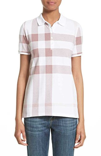 Burberry Women Shirt (BURBERRY Women's ISNA Check Print Stretch Cotton Polo Shirt in Antique Rose)