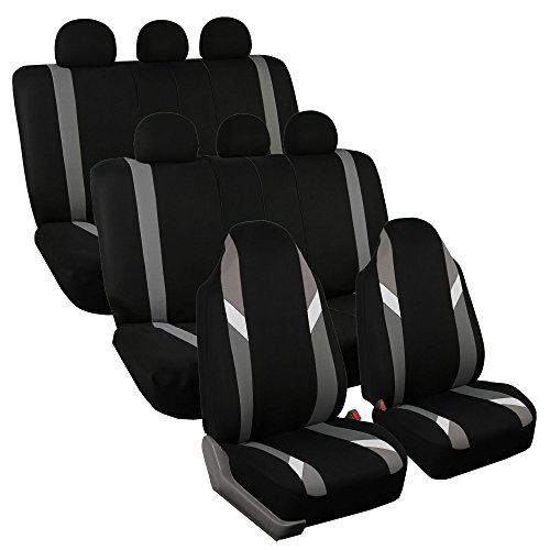 FH Group FB133128 Three Row-Premium Modernistic Seat Covers Gray/Black- Fit Most Car, Truck, SUV, or Van