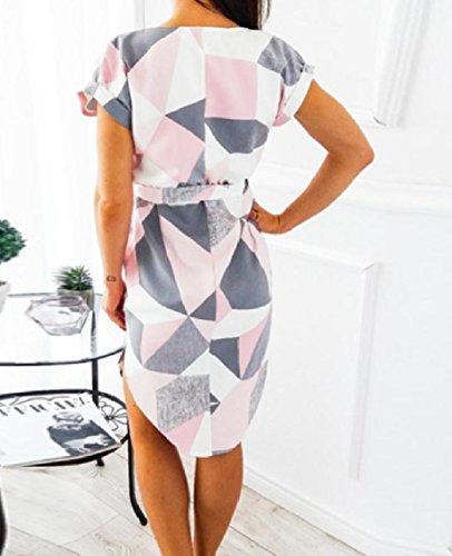 Merletto Pattern2 Corta Dettaglio Sexy Manica Irregolare maglia Coolred Stampa A Abito Metà Della xqRAScw