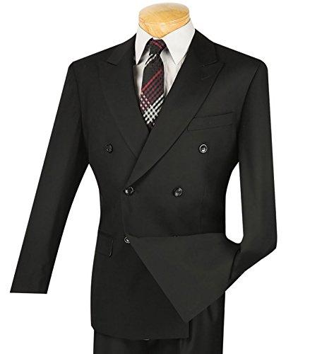 Vinci Men's Premium Solid Double Breasted 6 Button Classic-Fit Suit New [Color Black | Size: 54 Regular/50 Waist]