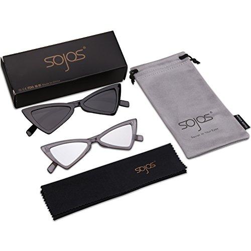 Sol c2 Gafas C1 Negro Ojo De Gris SOJOS Triángulo Gato Moda Gris Mujer SJ2051 amp; D6 Plateado De ETfqaaw4