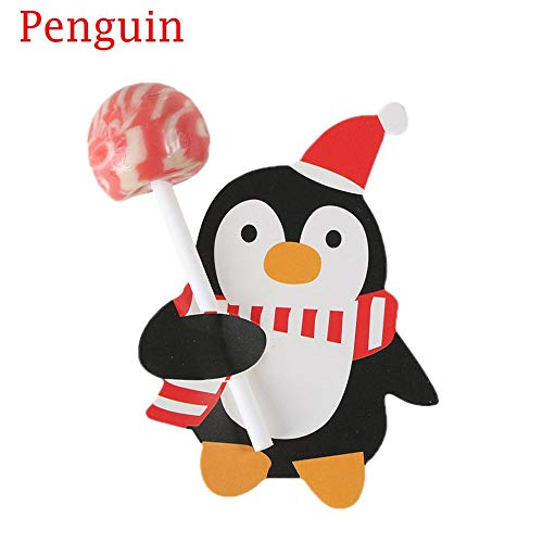 50pcs/1 Bag Penguin Santa Claus Lollipop Paper Card Christmas Candy Decoration for Home Wedding Festival Birthday Party Christmas Candy Kids Gifts (Penguin)