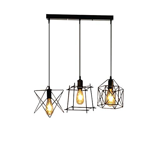 NIUYAO Antique Metal Cage Pendant Lighting Chandelier Rustic Kitchen Linear Island Light with 3 Lights
