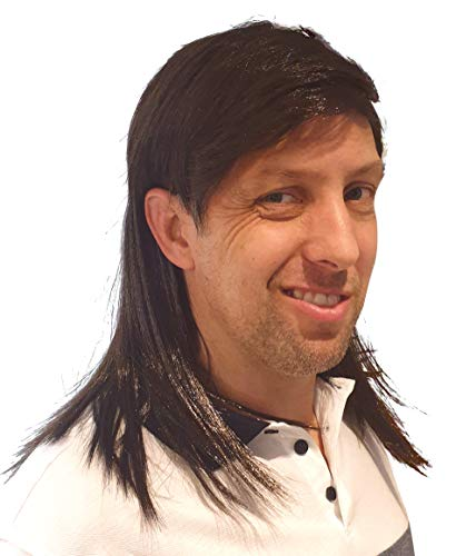 Brown Stylish Mullet Wig for Men 70s 80s Costume Hippie Free American Look Quality Wigs