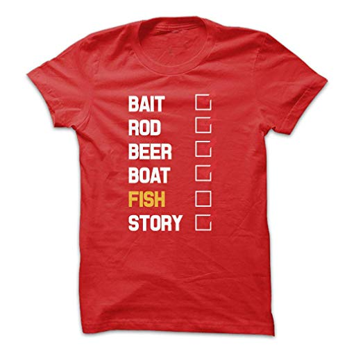 Bait Rod Beer Boat Fish Story Unisex X Large Red T Shirt