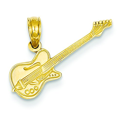 Pendants Arts and Theater Charms 14K Yellow Gold Electric Guitar Charm Pendant (14k Electric Guitar Charm)