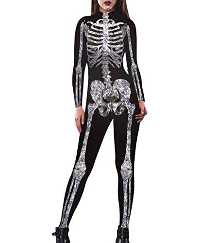 Womens Halloween Skeleton Print Costume Stretch Skinny Catsuit Jumpsuit Black L ()
