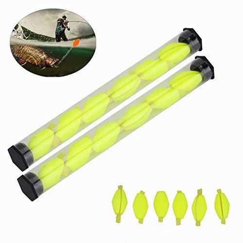 18pcs Float Foam Strike Indicators Fly Fishing Buoy Bobbers Fishing Tackle Fly Fishing Accessories (Fluorescein)