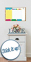 Crafty Charts - Family Responsibility Reward Chart Dry Erase Poster Board Repositionable at a Glance Weekly Planner Chore Chart Bright Colors - FREE Marker Pen & Eraser - X-LARGE 17 inch x 11 inch
