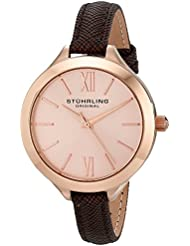 Stuhrling Original Womens 975.04 Vogue Rose Gold-Tone Watch with Brown Leather Band