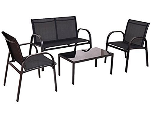 Furniture Set Sofa Coffee Table Steel Frame Garden Outdoor Deck Black New - Set of 4 #629A (Plastic New Furniture Zealand Outdoor)