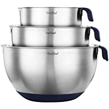 VonShef Premium 3 Piece Stainless Steel Mixing Bowl Set with Pouring Spouts, Handles and Non Slip Silicone Base