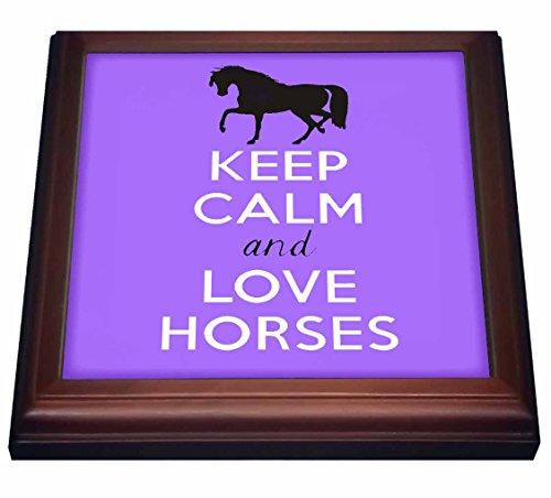 (3dRose trv_193616_1 Keep calm and love horses Purple Trivet with Ceramic Tile, 8