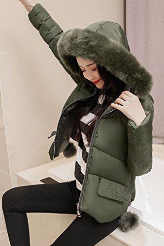 Invierno Parkas Outwear Verde Imitacion Peludas Casual Con Calientes Corto La Mujer Capucha Del Acolchada gz4q4P