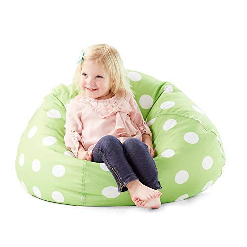 Green 28-Inch Large Polka Dot Pattern Bean Bag Geometric Design Beanbag Chair Small/Toddler Big Dots Printed Sofa Sack Comfortable Indoor/Outdoor Dual Zipper Lightweight Polystyrene Beads, Polyester ()