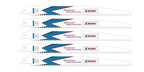 EZARC Reciprocating Saw Blade Wood Demolition 9-Inch 6TPI R922DH (5-Pack) (Purpose Blade Reciprocating General Wood)