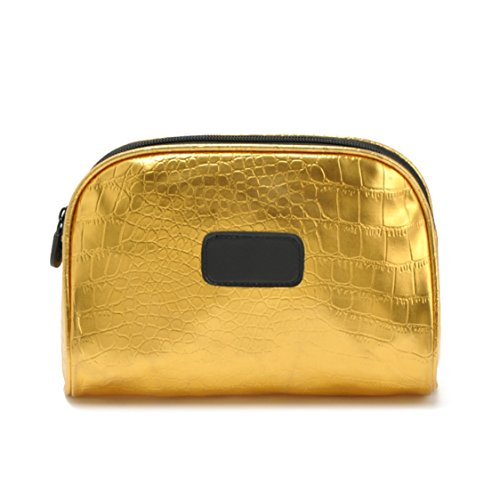 Flowertree Women's Crocodile Embossed Leather Purse Makeup Bag in Gold ()