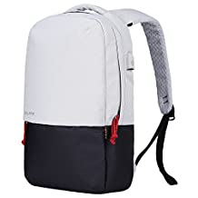 Bolang Water Resistant Casual Daypack School Laptop Backpack with USB Charging Port 8849 (White/Black, One Size)