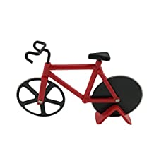 Pizza Cutter Bicycle Pizza Cutter with Wheels Kitchen & Dinning Stainless Steel Tool Wheels Cutter (red)