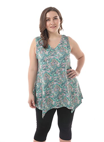 Micro Modal Sleeveless - ZERDOCEAN Women's Plus Size Printed Flowy Tank Tops Summer Sleeveless Tunic 009 2X