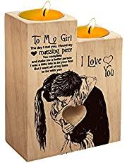 Heart Shaped Candle Holders | Candle Valentines Decoration Candlestick | to My Girl Wooden Candle Gifts for Girlfriend Couple Birthday Gift