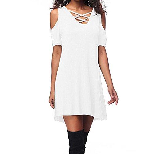 Bretelles Familizo avec Dnudes Manches Shirt Robe Blanc paules Poche Courtes Robe Femmes T UrqUYFP