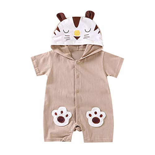 NUWFOR Newborn Baby Boy Girls Cartoon Hoodie Infant Rompers Jumpsuit Outfits Clothes(Coffee,18-24 Months by NUWFOR (Image #4)