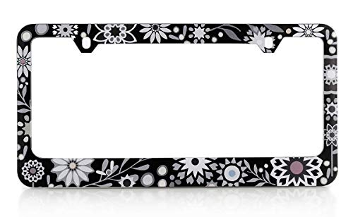 Baron-Jewelry Floral Design Pattern License Plate Frame with Sparkly Texture Vinyl and Swarovski Crystals.