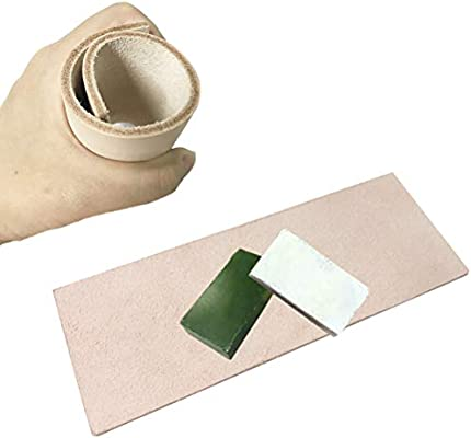 Cooyeah Leather Strops Kit Leather Honing Strop 3 x 8 Inch Paddle Strop with 2 Pieces 1.76 Oz Polishing Compounds Razor Sharpening Tools