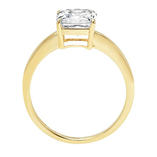 Asscher Brilliant Cut Classic Solitaire Designer Wedding Bridal Statement Anniversary Engagement Promise Ring Solid 14k Yellow Gold, 2.7ct, 8.75 by Clara Pucci (Image #1)