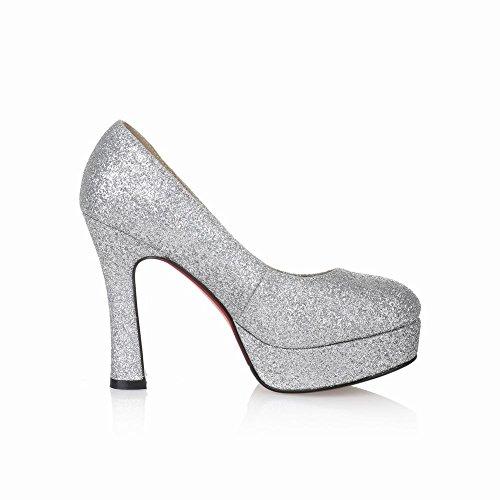 Charm Silver Heel Foot Fashion High Shoes Sequins Womens Platform Pump 4gR64